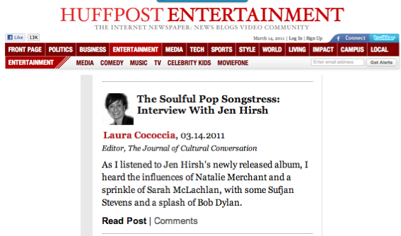 Jen Hirsh Featured in the Huffington Post 3/14/11