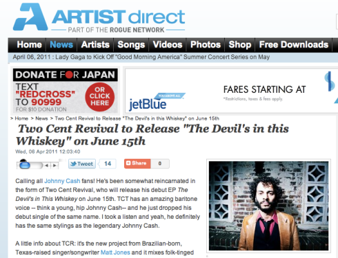 Great Two Cent Revival feature on ArtistDirect.com!