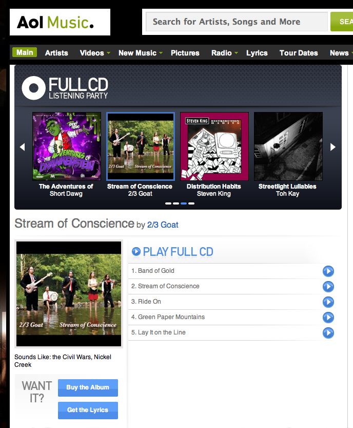 "AOL Debuts 2/3 Goat's ""Stream of Conscience"""